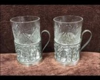 Vintage 1960 s Russian tea cups & filigreed silver plated holders