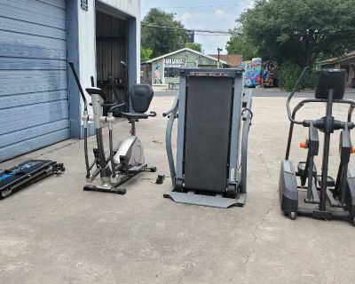 Total Gym (Used), elliptical bike (slightly used), treadmill (used), stepper (slightly used)