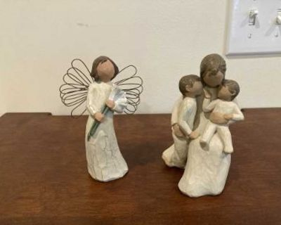 """Two Like New Willow Tree Figurines...""""Angel of Beauty"""" & """"Quietly"""""""