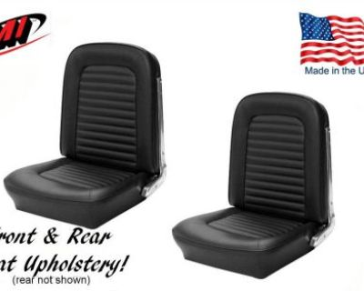 1966 Ford Mustang Front And Rear Seat Upholstery Black Vinyl Made In Usa By Tmi