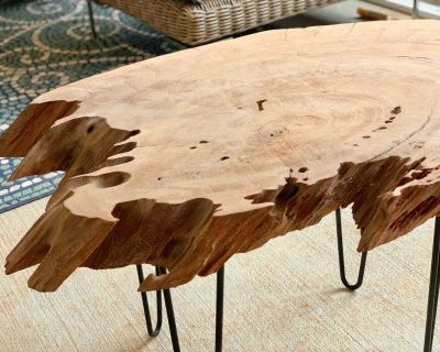 Live Edge Cypress End Table - indoor/outdoor
