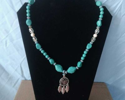 Dreamcatcher Turquoise Beaded Charm Necklace