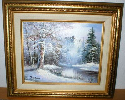 """""""Ice Mountain"""" Original Oil on Canvas Signed - Antique Gold Wood Frame"""