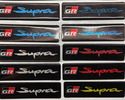 A91 Refraction Blue, White, Silver, Black, Red, Yellow color themed Supra Decal Emblems for WeatherTech Floor Mats