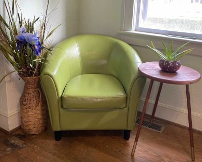 Lime Vegan Leather Barrel Chairs