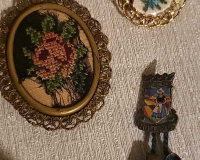1 vintage embroidered broch, 1 a bit newer and a Holland pin lot.