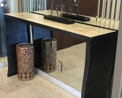 UNIQUE ARTISAN ** CONSOLE TABLE** Metal Frame / Stone Top