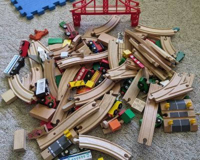 Huge lot of wooden tracks, trains, people, signs, animals