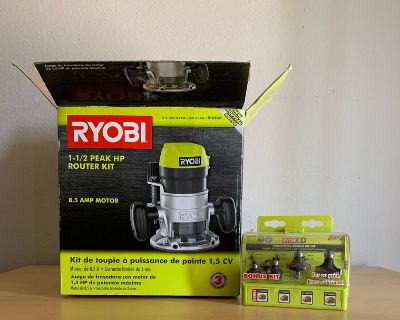 Ryobi 1 1/2 router barely used includes bit set