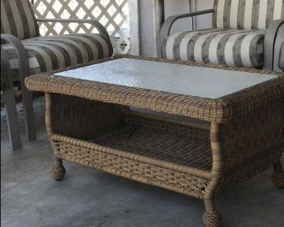 Resin Wicker Patio Coffee Table. OBO