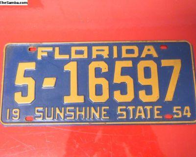 License Plate Florida 1954 #2