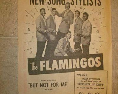 FLAMINGOS ~ RARE ORIGINAL BILLBOARD AD !