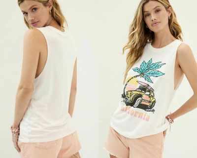 NWT $68 Anthropologie White California Graphics Graphics Muscle Tank XS