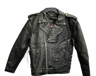 The Bikers Zone Men s Leather Motorcycle Jacket Large Black