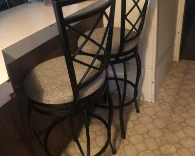 Set of Two Bar Height Heavy Solid Iron Bar Stools
