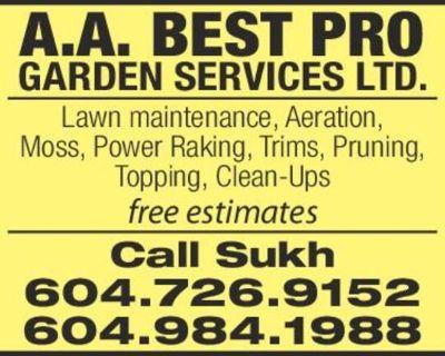 Lawn maintenance, Aeration, Moss, Power Raking, Trims, Pruning, Topping, Clean-Ups