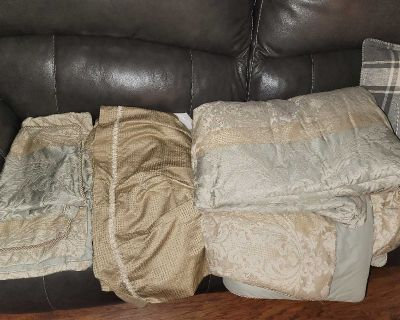 Queen Size Comforter with matching bed skirt and two shams
