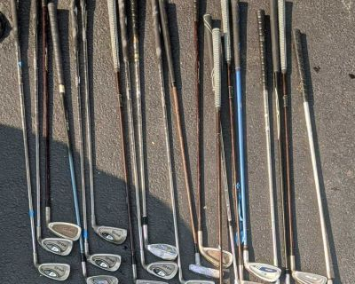 20 golf clubs, all for $10. Will be donated in 1 week from today (July 23)