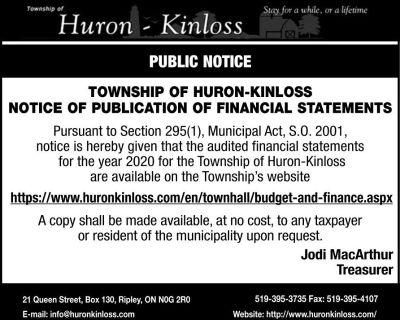 PUBLIC NOTICE TOWNSHIP OF HU...