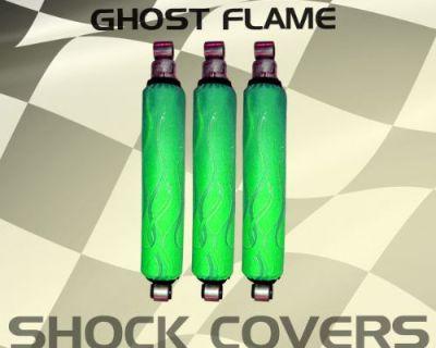 Yamaha Raptor 350 Green Ghost Flame Shock Cover #acf12605 Ijs4615