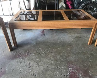 3 pc. Matching set. Glass top (removable)2 side tables and coffee table.