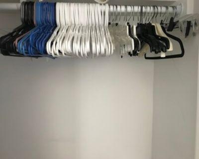 hanging closet. hangers