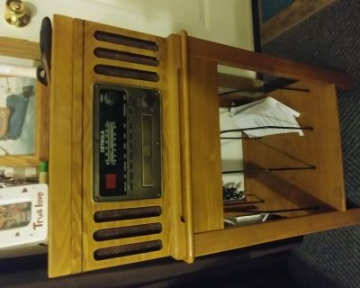 Record, cd, cassette player with stand for records