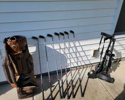 Golf Irons, Bag and Pull Cart