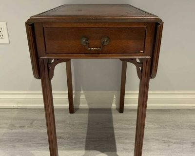 Antique wood and leather side table