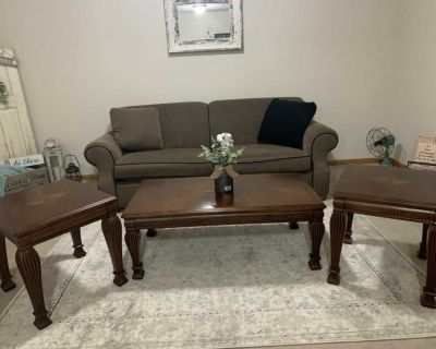 Couch, end tables & coffee table. All from Sherman s. Will separate.