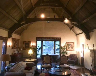 "WOOD BEAM CATHEDRAL CEILING ""GREAT"" ROOM with 60 foot Gallery Entrance and Spectacular Gargoyle Rotunda, La Ca ada Flintridge, CA"