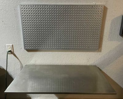 Galvanized Steel Pegboard with Foldable Steel Work Bench