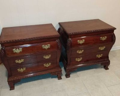 Triple dresser with trifle mirror and two bathroom nightstands