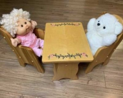 Vintage Custom Made J.H. Grandfield Small Toy Table and Chairs fits Cabbage Patch Dolls