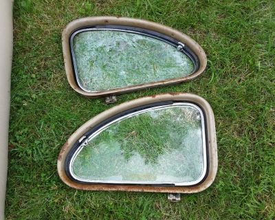 1941 47 1948 Ford coupe Quarter Window GLASS garnish molding SET deluxe PAIR Flathead V8    '41-48