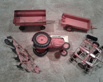 Vintage die cast Case Tractor and farm equipment