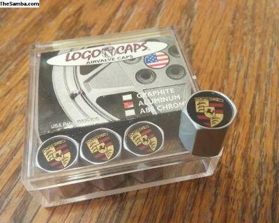NOS Logo Caps Porsche Valve Stem Cover Cap Set