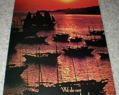 "Sailboats Vintage Wall Art Poster 1975 - 14"" x 21"" - Unframed"