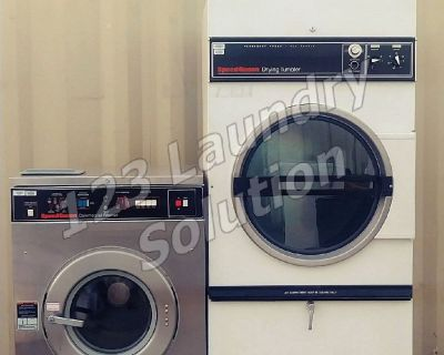 Coin Laundry Speed Queen Single Pocket Dryer 120v 60Hz 1Ph and Washer 208-240v 60Hz Set Used