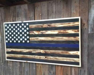 American Flag Blue line wall hanger