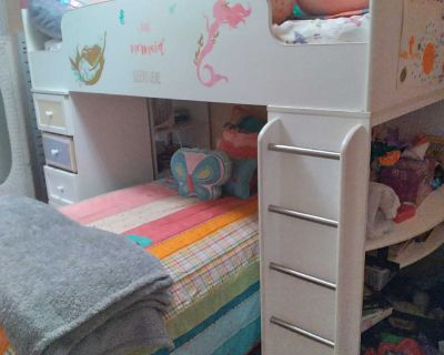 Bunk bed and desk has drawers...