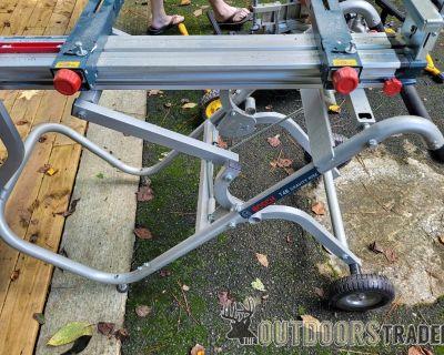 FS BOSCH Portable Gravity-Rise Wheeled Miter Saw Stand T4B