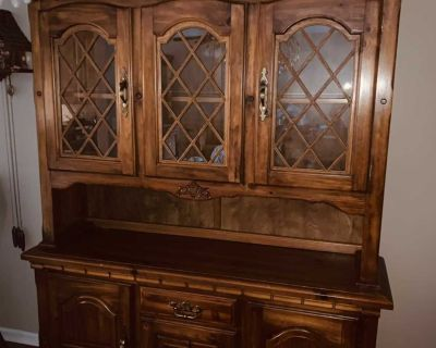Dining room hutch-2 pieces; glass shelves in top section and wood shelves on bottom section and drawer