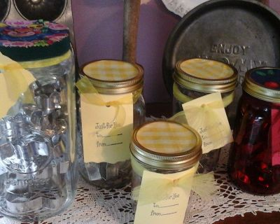 Decorative Mason Jars Filled With Cookie Cutters To Give As Gifts-NEW Assembled by Crafter