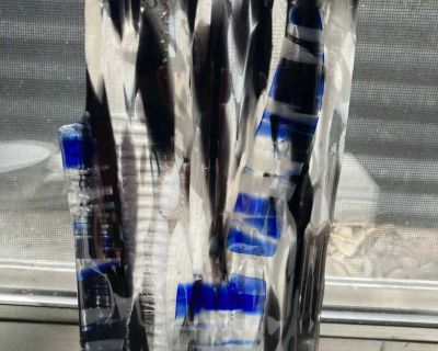 Falling Water Cut Glass with Hanger Size 9x5 17 with chain