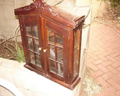 Solid Brown Old Handcarved Wood Curio Cabinet