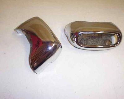 1956 Pontiac (re-chromed) Dual Exhaust Rear Bumper Tips A+ (used Oem Pair)