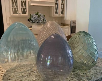4 pottery barn blown glass colored eggs - blue, green, pink and purple
