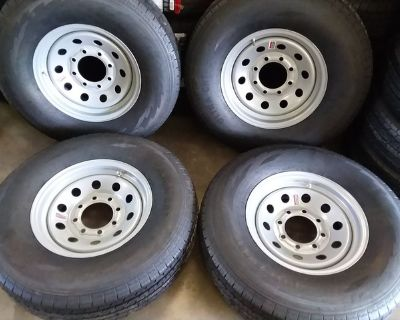 New 10 Ply Trailer Tires & 8 Lug Rims ST235-80-R16 E Rated
