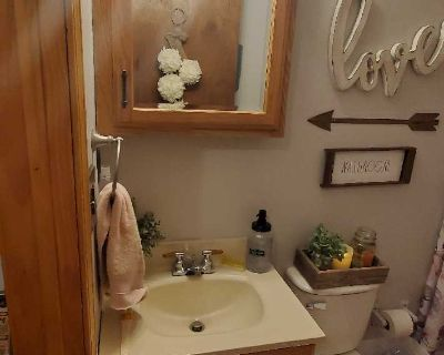 Bathroom Mirror Vanity with shelves and 3 lights. Good used condition. Hardware included.